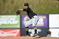 Bristol Pirates relief pitcher Argenis Romano (36) in action against the Danville Braves at American Legion Post 325 Field on July 1, 2018 in Danville, Virginia. The Braves defeated the Pirates 3-2 in 10 innings. (Brian Westerholt/Four Seam Images)
