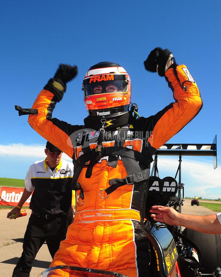 May 22, 2011; Topeka, KS, USA: NHRA top fuel dragster driver Spencer Massey celebrates after winning the Summer Nationals at Heartland Park Topeka. Mandatory Credit: Mark J. Rebilas-