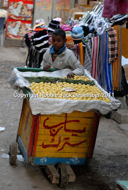 A young boy selling fruit in the Sharia Souk in Luxor.The town of Luxor occupies the eastern part of a great city of antiquity which the ancient Egytians called Waset and the Greeks named Thebes.