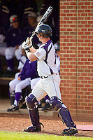 High Point Panthers catcher Spencer Angelis #11 waits for his turn to bat against the Manhattan Jaspers at Willard Stadium on March 9, 2012 in High Point, North Carolina.  The Panthers defeated the Jaspers 11-6.  (Brian Westerholt/Four Seam Images)