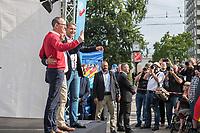 """Wahlkampfauftaktveranstaltung der rechten """"Alternative fuer Deutschland"""", AfD, in Brandenburg am Samstag den 13. Juli 2019 im brandenburgischen Cottbus zur Landtagswahl am 1. September mit dem brandenburger Landesvorsitzenden Andreas Kalbitz, dem saechsichen Landesvorsitzenden Joerg Urban, Thueringens AfD-Chef Bjoern Hoecke und dem Parteivorsitzenden Joerg Meuthen. Die drei Landesvorsitzenden sind Anhaenger der rechtsextremen AfD-Gruppierung """"Fluegel"""" um Bjoern Hoecke, die vom Verfassungsschutz geprueft wird.<br /> Im Bild vlnr.: Joerg Urban, Andreas Kalbitz, Bjoern Hoecke.<br /> 13.7.2019, Berlin<br /> Copyright: Christian-Ditsch.de<br /> [Inhaltsveraendernde Manipulation des Fotos nur nach ausdruecklicher Genehmigung des Fotografen. Vereinbarungen ueber Abtretung von Persoenlichkeitsrechten/Model Release der abgebildeten Person/Personen liegen nicht vor. NO MODEL RELEASE! Nur fuer Redaktionelle Zwecke. Don't publish without copyright Christian-Ditsch.de, Veroeffentlichung nur mit Fotografennennung, sowie gegen Honorar, MwSt. und Beleg. Konto: I N G - D i B a, IBAN DE58500105175400192269, BIC INGDDEFFXXX, Kontakt: post@christian-ditsch.de<br /> Bei der Bearbeitung der Dateiinformationen darf die Urheberkennzeichnung in den EXIF- und  IPTC-Daten nicht entfernt werden, diese sind in digitalen Medien nach §95c UrhG rechtlich geschuetzt. Der Urhebervermerk wird gemaess §13 UrhG verlangt.]"""