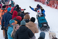 Musher # 49 Cindy Gallea at the Restart of the 2009 Iditarod in Willow Alaska