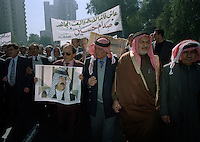 (February 1998)   Pro-Saddam protesters march in the streets of Baghdad, as tensions were high over Un weapons inspections and sanctions. <br /> <br />  The UNSCOM weapons inspectors left Iraq later that year.<br /> <br /> <br /> <br /> ©Fredrik Naumann/Felix Features