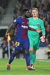 UEFA Champions League 2017/2018.<br /> Round of 16 2nd leg.<br /> FC Barcelona vs Chelsea FC: 3-0.<br /> Samuel Umtiti &amp; Marc-Andre Ter Stegen.