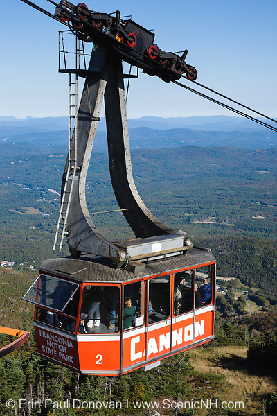 Aerial Tramway at the summit of Cannon Mountain in Franconia Notch State Park of the New Hampshire White Mountains.