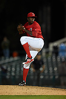 Inland Empire 66ers relief pitcher Eduardo Rivera (36) delivers a pitch during a California League game against the Lancaster JetHawks at San Manuel Stadium on May 18, 2018 in San Bernardino, California. Lancaster defeated Inland Empire 5-3. (Zachary Lucy/Four Seam Images)