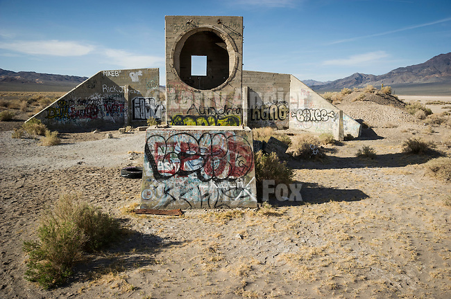 Round and square windows, old concrete ruins by U.S. Highway 95 in Tonopah Junction, Nevada