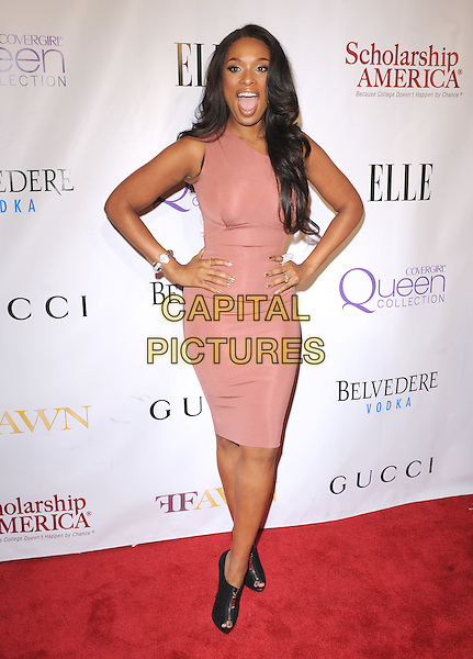 JENNIFER HUDSON.The 2nd annual Mary J. Blige Honors Concert to benefit FFAWN's Scholarship Fund held at Hammerstein Ballroom in NY, California, USA..May 1st, 2011.full length sleeveless beige brown blush dress hands on hips ankle black boots booties mouth open.CAP/RKE/DVS.©DVS/RockinExposures/Capital Pictures.