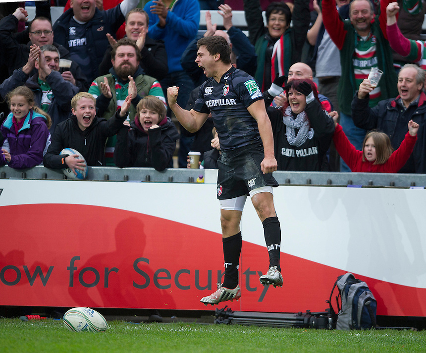 Leicester Tigers' Ben Youngs celebrates scoring his sides third try...Rugby Union - Heineken Cup Pool 2 - Leicester Tigers v Ospreys - Sunday 21st October 2012 - Welford Road - Leicester....