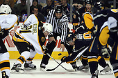 February 17th 2007:  Derek Roy (9) of the Buffalo Sabres prepares to face off vs. Phil Kessel (81) of the Boston Bruins at HSBC Arena in Buffalo, NY.  The Bruins defeated the Sabres 4-3 in a shootout.