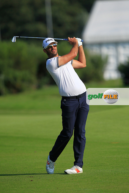 Gregory Havret (FRA) on the 1st fairway during Round 1 of the 2016 KLM Open at the Dutch Golf Club at Spijk in The Netherlands on Thursday 08/09/16.<br /> Picture: Thos Caffrey | Golffile