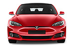 Car photography straight front view of a 2019 Tesla Model-S 100D 5 Door Hatchback Front View