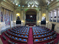 BOGOTÁ -COLOMBIA. 20-07-2017: Aspecto del salón Elíptico del Capitolio Nacional de Colombia en la ciudad de Bogotá doinde se llevará acabo la ceremonia de instalación de la legislatura 2017 2018 del Congreso de la República de Colombia realizado hoy, 20 de julio de 2017. / Aspect of the Ellipptical room of the National Capitol of Colombia in Bogota city where will be take the ceremony of installation of the Legistature 2017 2018 of the Congress of the Republic of Colombia made today,  July 20 2017. Photo: VizzorImage/ Gabriel Aponte / Staff
