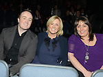 Glen and Karen Carter and Melissa Cromwell pictured at the jason Byrne show in the Barbican Centre. Photo:Colin Bell/pressphotos.ie