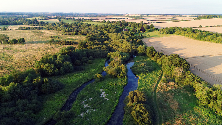 Aerial view of the River Test at Longparish, Hampshire
