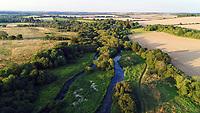 Aerial view of the River Test at Longparish, Hampshire