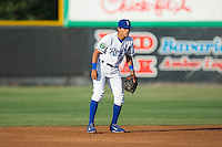 Burlington Royals shortstop Nicky Lopez (4) on defense against the Princeton Rays at Burlington Athletic Stadium on June 24, 2016 in Burlington, North Carolina.  The Rays defeated the Royals 16-2.  (Brian Westerholt/Four Seam Images)