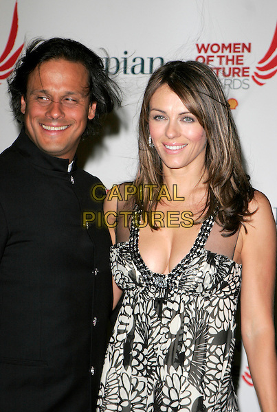 ARUN NAYER & LIZ HURLEY .Women Of The Future Awards, Grosvenor Marriott Square hotel, Park Lane, London, England..November 8th, 2007.half length elizabeth black suit white dress pattern married husband wife cleavage sheer.CAP/AH.©Adam Houghton/Capital Pictures.