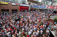 Kansas City, MO - Monday, June 16, 2014:  USA soccer fans watch the USA vs. Ghana first round World Cup match at a public viewing in the Power and Light District of Kansas City, Missouri.