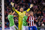 Kevin Gameiro (r) of Atletico de Madrid fights for the ball with goalkeeper Jeron Zoet of PSV Eindhoven and fellow players during their 2016-17 UEFA Champions League match between Atletico de Madrid and PSV Eindhoven at the Vicente Calderón Stadium on 23 November 2016 in Madrid, Spain. Photo by Diego Gonzalez Souto / Power Sport Images