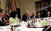 United States President Barack Obama speaks to the press after hosting a roundtable with CEOs to discuss about climate change especially carbon mitigation, sustainability and how new technologies can support these efforts, in the Roosevelt Room of the White House in Washington, DC on October 19, 2015.<br /> Credit: Aude Guerrucci / Pool via CNP