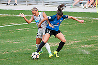 Kansas City, MO - Thursday August 10, 2017: Jaelene Hinkle, Brittany Taylor during a regular season National Women's Soccer League (NWSL) match between FC Kansas City and the North Carolina Courage at Children's Mercy Victory Field.