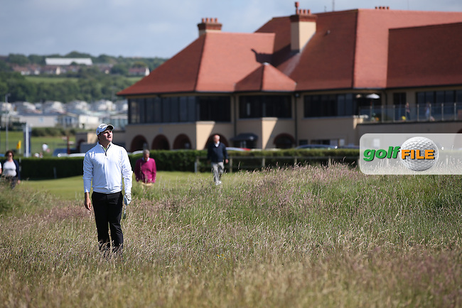 Zander Lombard (South Africa) finds himself in the thick rough down the 17th during the Semi-Finals at The Amateur Championship 2014 from Royal Portrush Golf Club, Portrush, Northern Ireland. Picture:  David Lloyd / www.golffile.ie