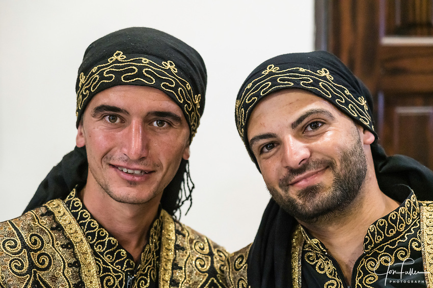 The dabka is a traditional Arabic folk dance from the Levant performed at a variety of celebrations.  It is usually performed as a circle or line dance and involves lots of foot stomping and jumping.   It is now strongly associated with the Palestinian culture.
