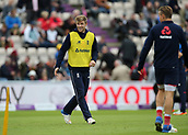 29th September 2017, Ageas Bowl, Southampton, England; One Day International Series, England versus West Indies; David Willey of England shares a joke during a football warm up