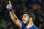 Luis Alberto Suarez Diaz of FC Barcelona (C) celebrates after scoring his goal during the La Liga 2017-18 match between FC Barcelona and Girona FC at Camp Nou on 24 February 2018 in Barcelona, Spain. Photo by Vicens Gimenez / Power Sport Images