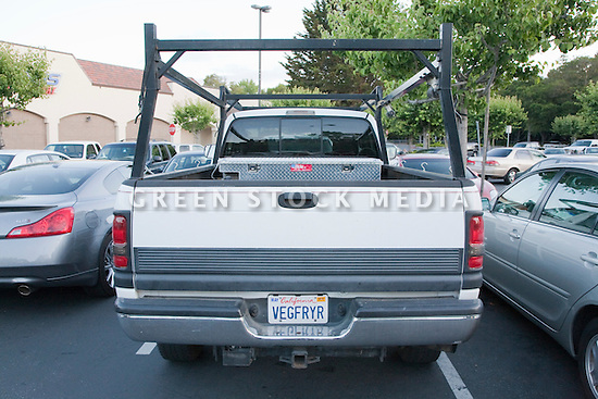 "Biodiesel fueled Dodge Ram 2500 pickup truck with ""VEGFRYR"" (Vegetable Fryer) custom license plate. Truck owned by RODI Construction. California, USA"
