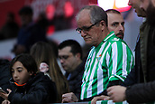 13th April 2018, Estadi Montilivi, Girona, Spain; La Liga football, Girona versus Real Betis; A Betis supporter waits for the beginning of the match