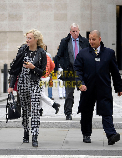 Fearne Cotton leaving BBC Radio 1, London, England.<br /> 11th September 2013<br /> full length black white print pattern fox animal jacket leather bag purse print jumpsuit profile <br /> CAP/IA<br /> &copy;Ian Allis/Capital Pictures