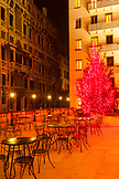 ITALY, Venice. A Christmas Tree at the outside patio of the Hotel Bauer.