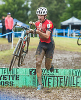 NWA Democrat-Gazette/BEN GOFF @NWABENGOFF<br /> Gage Hecht of the United States competes in the UCI Elite Men race Sunday, Oct. 6, 2019, during the the Fayettecross cyclocross races at Centennial Park at Millsap Mountain in Fayetteville. Hecht placed second in the race.