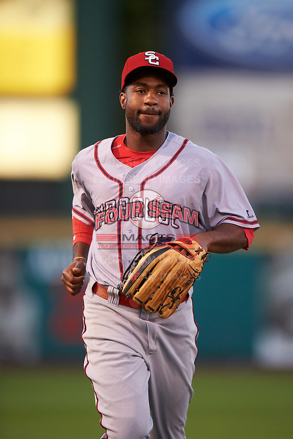 Syracuse Chiefs left fielder Brian Goodwin (15) during a game against the Rochester Red Wings on July 1, 2016 at Frontier Field in Rochester, New York.  Rochester defeated Syracuse 5-3.  (Mike Janes/Four Seam Images)