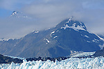 snow capped peaks above Marjorie glacier in Glacier Bay National Park, Alaska