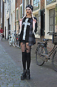 Japanese street fashion fan in the Dutch city of Leiden, the center of Japan studies in the Netherlands. Picture shot in Leiden, Holland on May 24th, 2015.