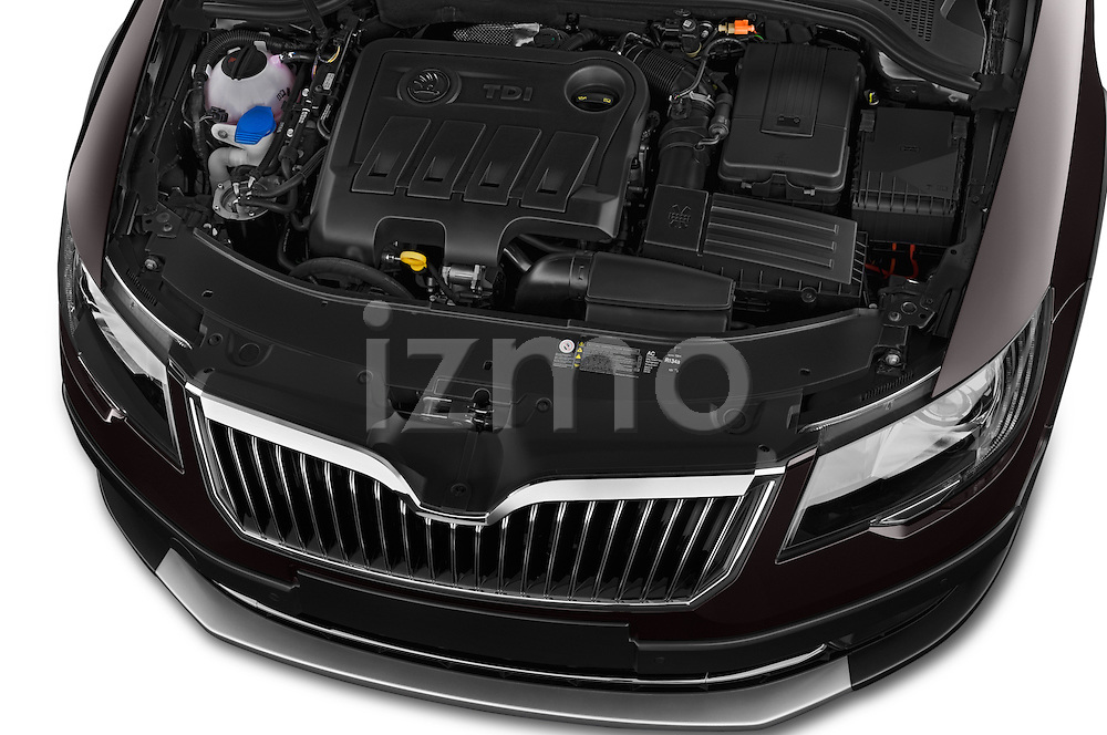 Car Stock 2015 Skoda SUPERB Elegance 5 Door Wagon 2WD Engine high angle detail view