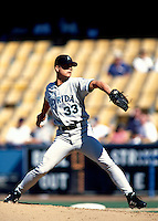 Matt Mantei of the Florida Marlins participates in a Major League Baseball game at Dodger Stadium during the 1998 season in Los Angeles, California. (Larry Goren/Four Seam Images)