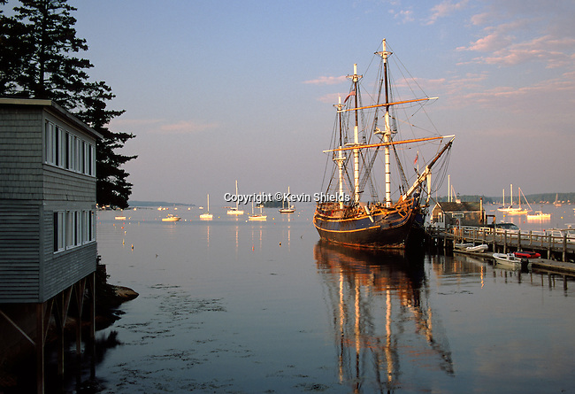 The HMS Bounty, a replica built for the 1962 movie Mutiny On The Bounty, at a wharf in Boothbay Harbor, Maine, USA. The Bounty was lost at sea off the coast of North Carolina in October, 2012.