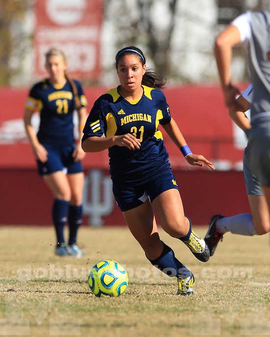 The University of Michigan women's soccer team lost to Ohio State University, 2-0, in the second round of the 2012 Big Ten Tournament in Bloomington, Ind., on November 2, 2012.