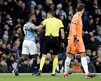 Manchester City's Raheem Sterling remonstrates to referee Andreas Ekberg<br /> <br /> Photographer Rich Linley/CameraSport<br /> <br /> UEFA Champions League Group F - Manchester City v TSG 1899 Hoffenheim - Wednesday 12th December 2018 - The Etihad - Manchester<br />  <br /> World Copyright © 2018 CameraSport. All rights reserved. 43 Linden Ave. Countesthorpe. Leicester. England. LE8 5PG - Tel: +44 (0) 116 277 4147 - admin@camerasport.com - www.camerasport.com