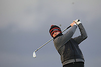 Cian Harkin (Letterkenny) on the 18th tee during Round 2 of the Ulster Boys Championship at Portrush Golf Club, Portrush, Co. Antrim on the Valley course on Wednesday 31st Oct 2018.<br /> Picture:  Thos Caffrey / www.golffile.ie<br /> <br /> All photo usage must carry mandatory copyright credit (&copy; Golffile | Thos Caffrey)