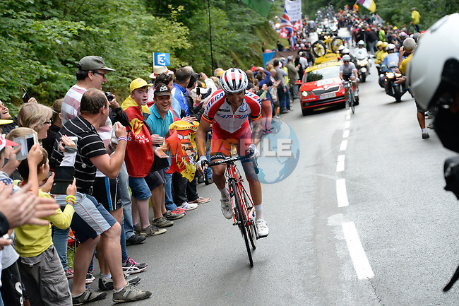 Joaquim Rodriguez (ESP) Katusha distances Michal Kwiatkowski (POL) Omega Pharma-Qiuck Step on the slopes of La Planche des Belles Filles during the final of Stage 10 of the 2014 Tour de France running 161.5km from Mulhouse to La Planche des Bellles Filles. 14th July 2014.<br /> Photo ASO/B.Bade/www.newsfile.ie