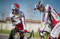 race favorite Alexander Kristoff (NOR/Katusha) chatting with a teammate ahead of the recon ride<br /> <br /> 2015 Paris-Roubaix recon