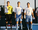 2 September 2007: North Carolina's Tyler Deric (24), Bill Dworsky (2), and Zach Lloyd (3). The University of North Carolina Tar Heels tied the Old Dominion University Monarchs 1-1 at Fetzer Field in Chapel Hill, North Carolina in an NCAA Division I Men's Soccer game.