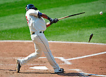 6 September 2009: Cleveland Indians' outfielder Michael Brantley gets a broken bat single against the Minnesota Twins at Progressive Field in Cleveland, Ohio. The Indians defeated the Twins 3-1 to take the rubber match of their three-game weekend series. Mandatory Credit: Ed Wolfstein Photo