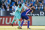 Luis Alberto Suarez Diaz of FC Barcelona  (L) fights for the ball with Ezequiel Matias Munoz of CD Leganes (R) during the La Liga 2017-18 match between CD Leganes vs FC Barcelona at Estadio Municipal Butarque on November 18 2017 in Leganes, Spain. Photo by Diego Gonzalez / Power Sport Images