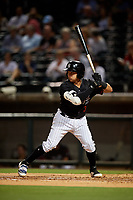 Birmingham Barons third baseman Bryant Flete (3) at bat during a game against the Tennessee Smokies on August 16, 2018 at Regions FIeld in Birmingham, Alabama.  Tennessee defeated Birmingham 11-1.  (Mike Janes/Four Seam Images)